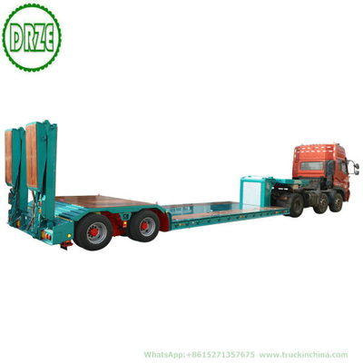 Customized 2 Axle Hydraulic Lifting Platform Lowbed Semi Trailer with Hydraulic Steering Axle Hydraulic Loading Ramp