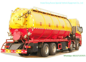 30ton Vacuum Sewer Sewage Cleaning Truck (Sewer Septic Tank High Pressure Combined Water Jetting Truck 18m3 Wast Sludge 10m3 Clean Water Tank)