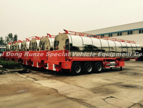 3 Axles Insulated Hot Bitumen Tanker Trailer 45cbm (Liquid Asphalt Tank Semitrailer) with Two Burner Heater Insulation Layer Rock Wool Puf 80mm Stainless Steel